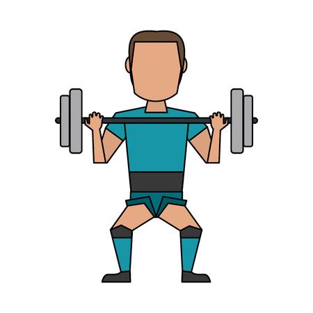 man lifting weights avatar cartoon icon vector illustration graphic design