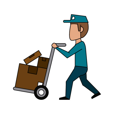 Courier with wheelbarrow icon vector illustration graphic design