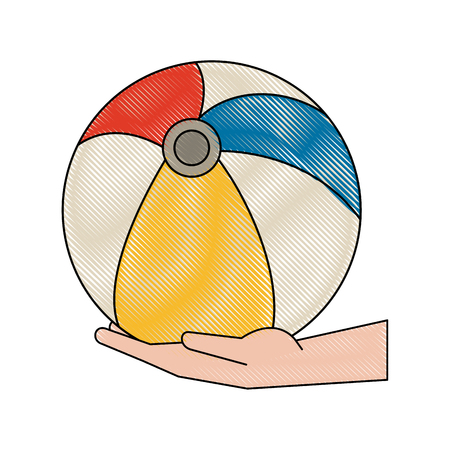 Hand holding Beach ball