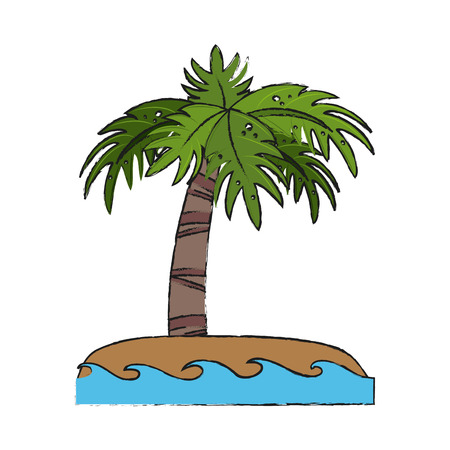 Palm tree on island Illustration