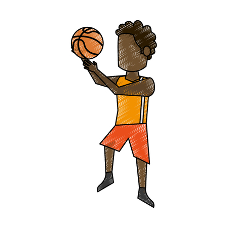 Male basketball player cartoon