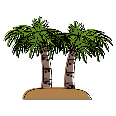 Palm trees on island icon vector illustration graphic design Illustration