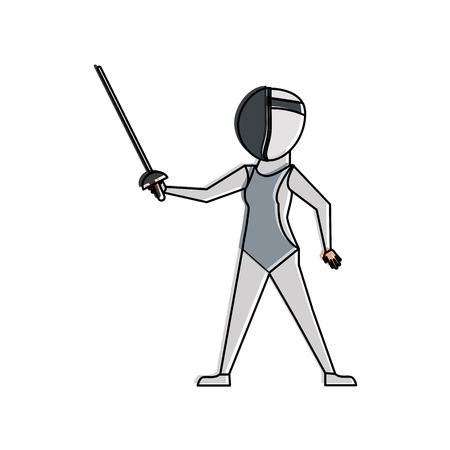 Fencer with rapier cartoon icon vector illustration graphic design