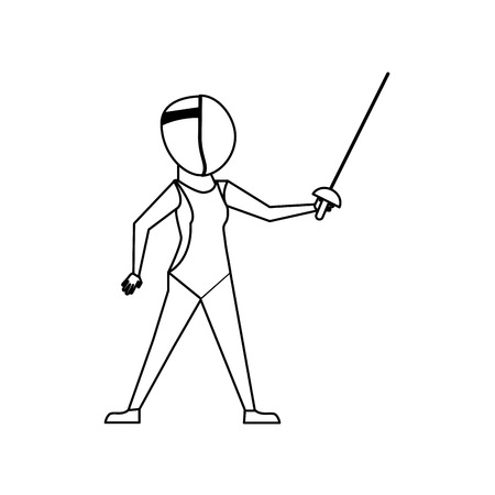 Fencer with rapier cartoon icon vector illustration graphic design.