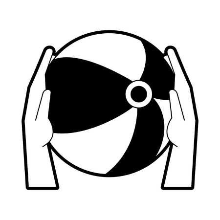 Hands holding Beach ball icon vector illustration graphic design.