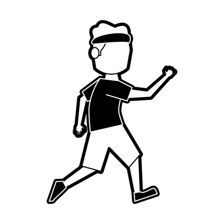 Athlete running cartoon icon vector illustration graphic design