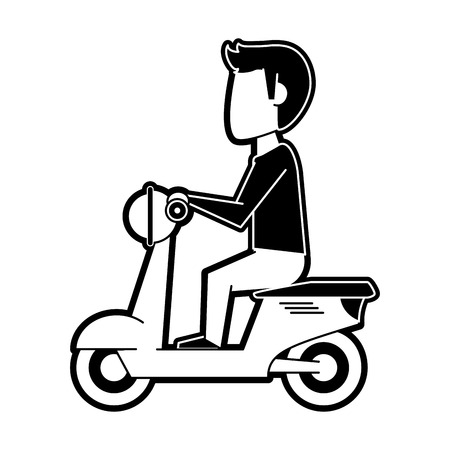 Man on scooter icon vector illustration graphic design