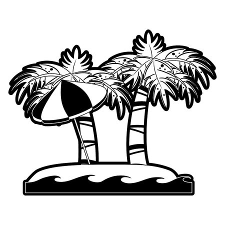 Palm tree and umbrella on beach icon vector illustration graphic design Illustration