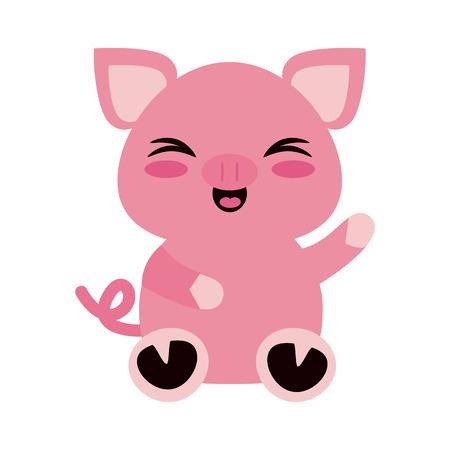 Cute pig cartoon icon vector illustration graphic design Illustration