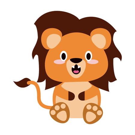 Cute lion cartoon icon vector illustration graphic design. Illustration