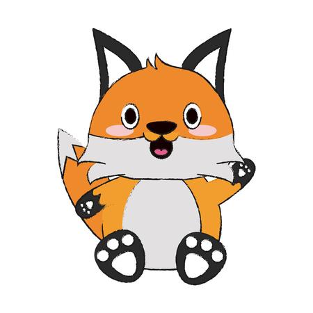 Cute fox cartoon icon vector illustration graphic design Çizim