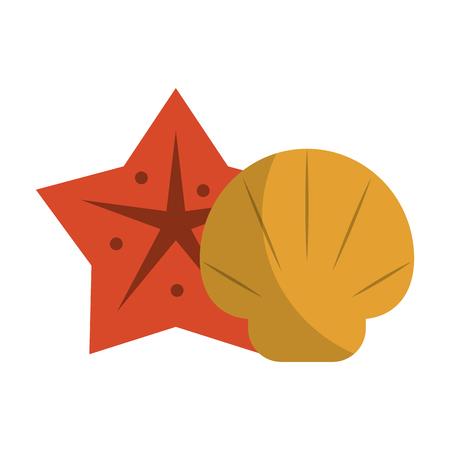 Sea star and shell icon vector illustration graphic design