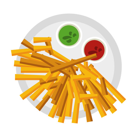 French fries fast food icon vector illustration graphic design