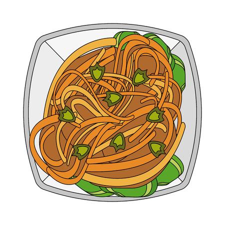 Spaghetti food restaurant icon vector illustration graphic design Illustration