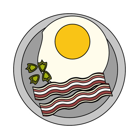 Sunny egg with bacon on dish icon vector illustration graphic design
