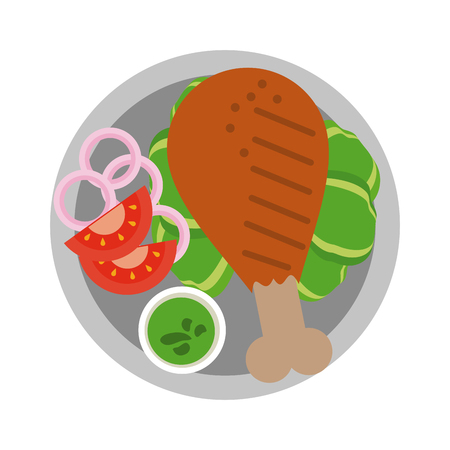 Chicken thigh with salad icon vector illustration graphic design