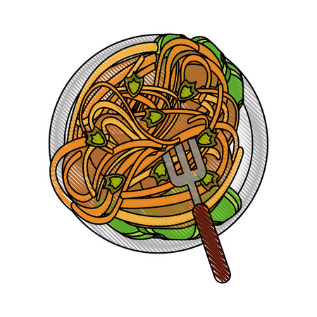Spaghetti food restaurant icon vector illustration graphic design Ilustracja