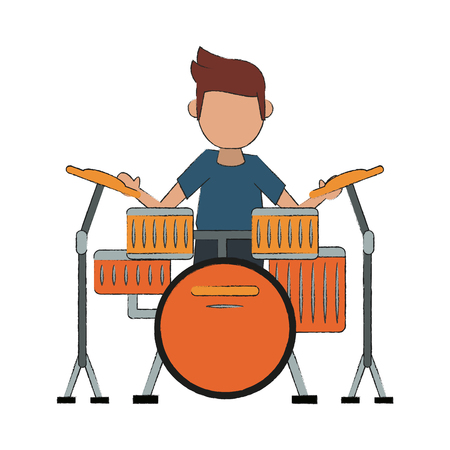 Guy playing Drum icon vector illustration graphic design Illustration