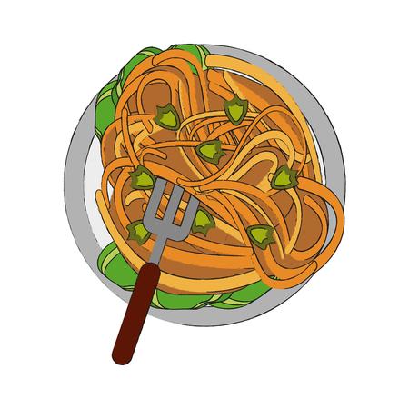Spaguetti food restaurant icon vector illustration graphic design Illustration