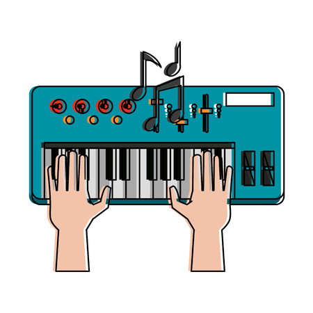 Music keyboard isolated icon vector illustration graphic design