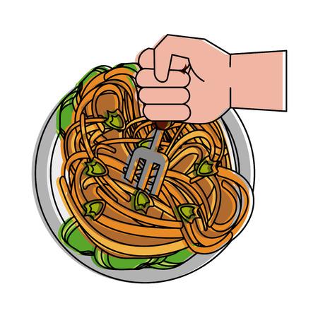 Van het het restaurantpictogram van het spaghettivoedsel vector de illustratie grafisch ontwerp