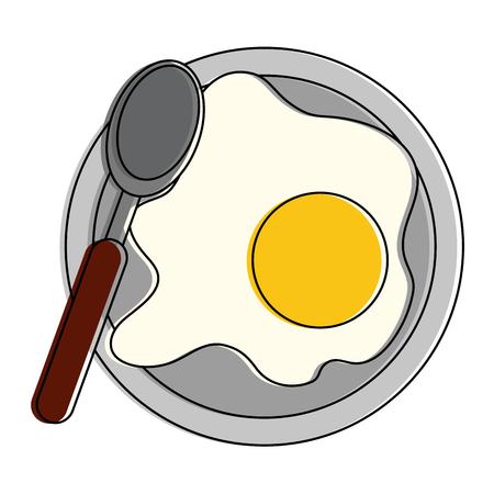 Sunny egg on dish icon vector illustration graphic design
