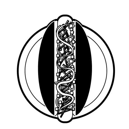 Hot dog fast food icon illustration graphic design.