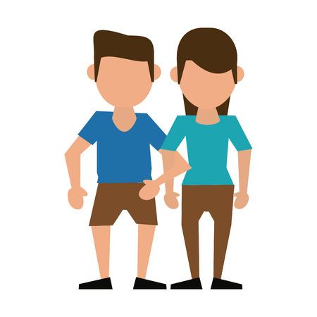 Couple faceless avatar cartoon icon vector illustration graphic design