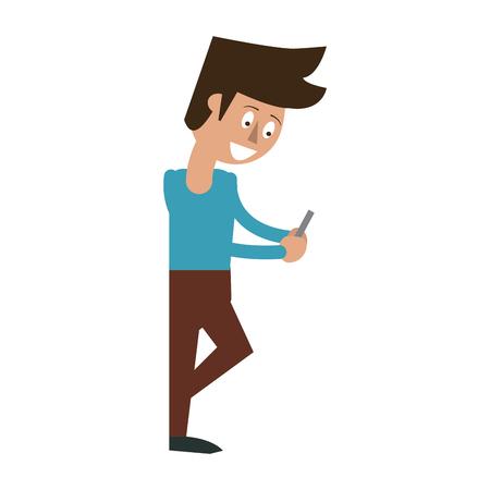 Man with smartphone cartoon icon vector illustration graphic design