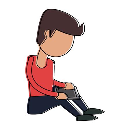 Man with tablet cartoon icon vector illustration graphic design Illustration