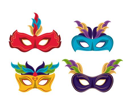 Mardi gras masks icons icon vector illustration graphic design