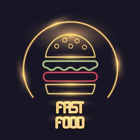 Hamburger neon lights icon icon vector illustration graphic design