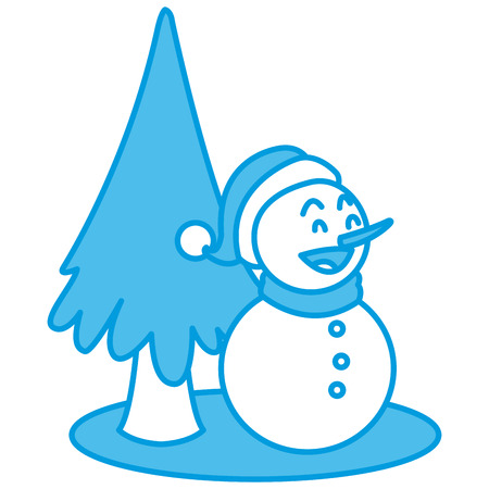 Snowman christmas cartoon icon vector illustration graphic design