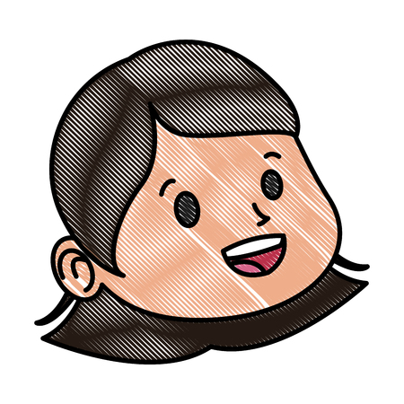 Beautiful girl face cartoon icon vector illustration graphic design