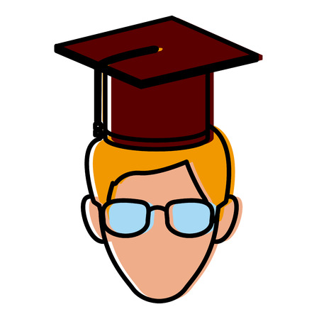 Student with hat avatar icon vector illustration  graphic  design