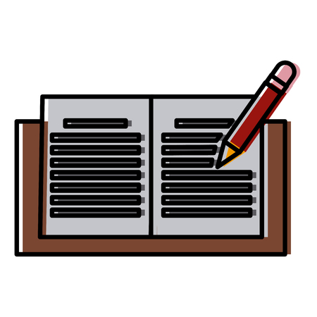 Notebook open with pencil icon vector illustration  graphic  design