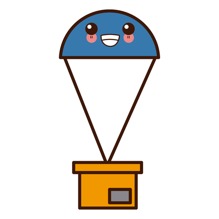 box with parachute delivery symbol cute cartoon vector illustration