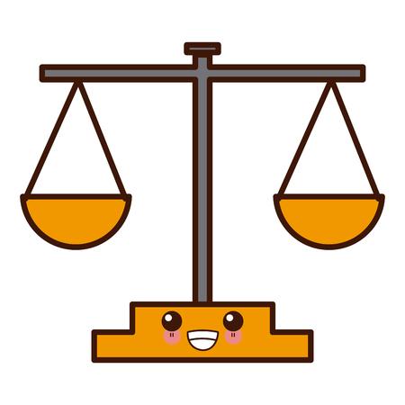 Balance justice symbol cute icon illustration graphic design.
