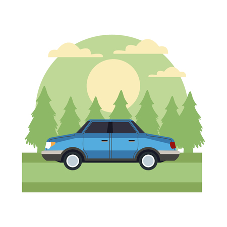Car sideview vehicle In the forest icon vector illustration