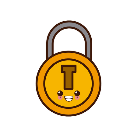 Padlock security symbol cute cartoon vector illustration