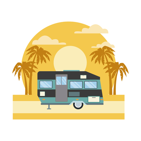 Trailer home isolated on sunset landscape icon vector illustration