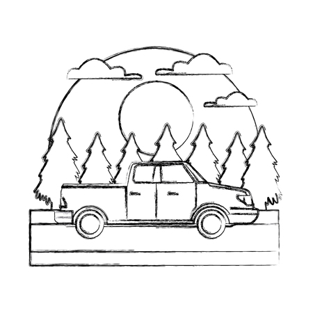Pick up vehicle In the forest icon vector illustration 일러스트
