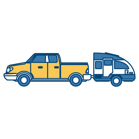 Pick up vehicle with caravan trailer icon vector illustration