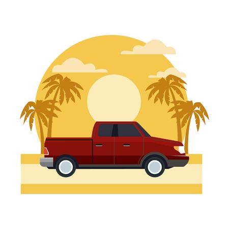 Pick up vehicle on sunset landscape icon vector illustration