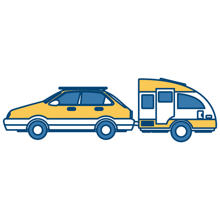 Car sideview vehicle with caravan trailer icon vector illustration