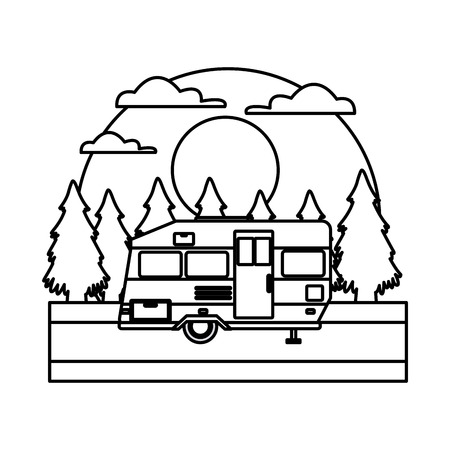 Trailer home isolated In the forest icon vector illustration Stock Illustratie