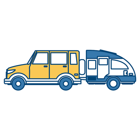 SUV sport vehicle with caravan trailer icon vector illustration