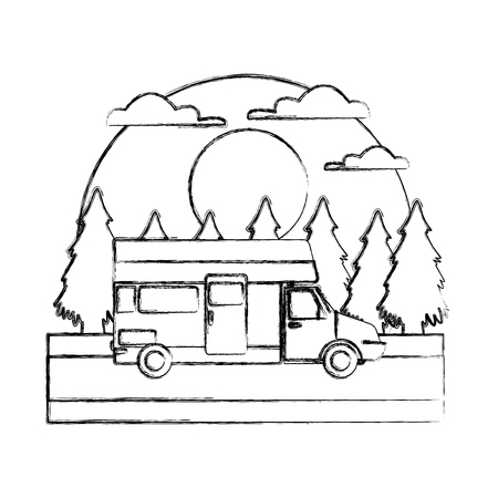 Caravan car vehicle In the forest icon vector illustration Vettoriali