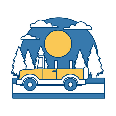 Off road sport truck In the forest icon illustration graphic design.