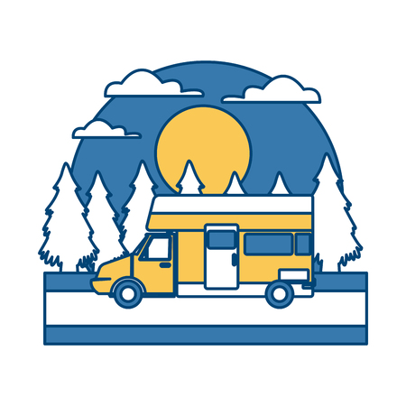 Caravan car vehicle In the forest icon vector illustration Illustration
